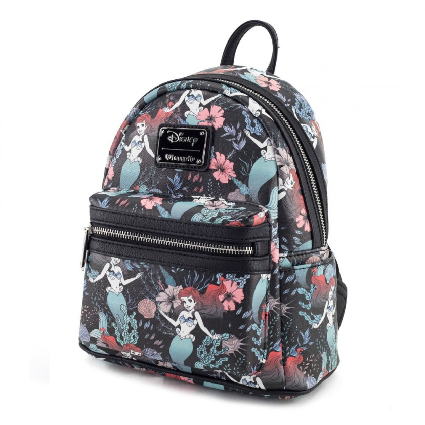 Ariel Floral Print Faux Leather Mini Backpack by Loungefly Canada 7d3171ec81a65