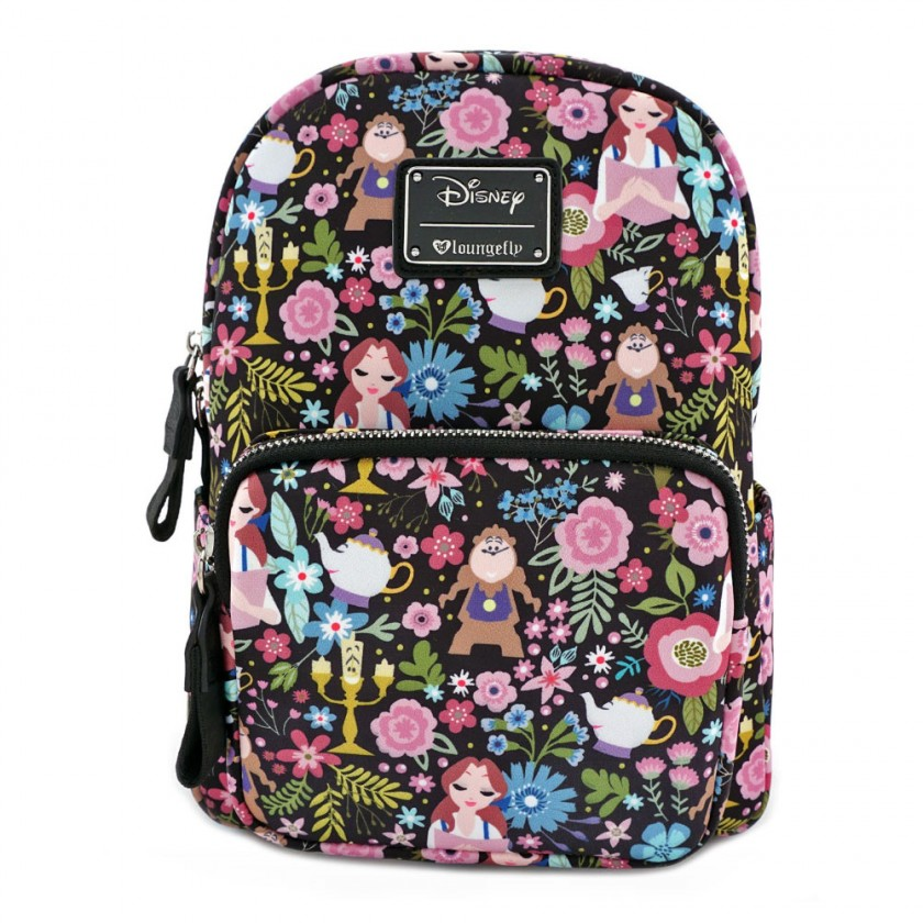 Disney - Beauty and the Beast Character Floral Print Mini Backpack ... e39ac6b67cff6